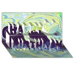 Abstract Ocean Waves Happy Birthday 3D Greeting Card (8x4)