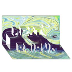 Abstract Ocean Waves Best Friends 3d Greeting Card (8x4)