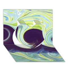 Abstract Ocean Waves Heart 3D Greeting Card (7x5)