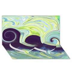 Abstract Ocean Waves Twin Heart Bottom 3D Greeting Card (8x4)