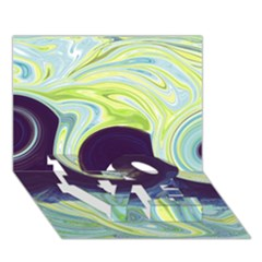 Abstract Ocean Waves LOVE Bottom 3D Greeting Card (7x5)