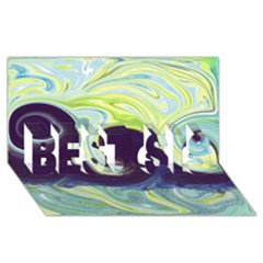 Abstract Ocean Waves Best Sis 3d Greeting Card (8x4)