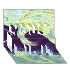 Abstract Ocean Waves You Did It 3D Greeting Card (7x5)