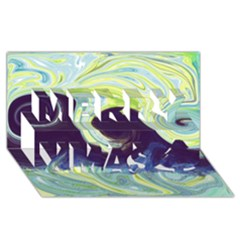 Abstract Ocean Waves Merry Xmas 3d Greeting Card (8x4)