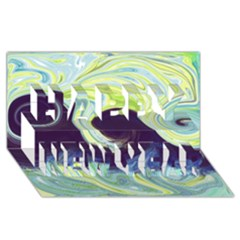 Abstract Ocean Waves Happy New Year 3D Greeting Card (8x4)