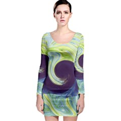 Abstract Ocean Waves Long Sleeve Bodycon Dresses