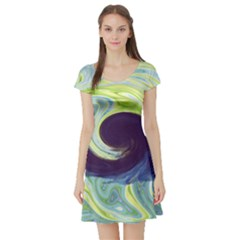 Abstract Ocean Waves Short Sleeve Skater Dresses