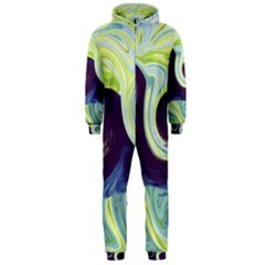 Abstract Ocean Waves Hooded Jumpsuit (men)