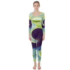 Abstract Ocean Waves Long Sleeve Catsuit