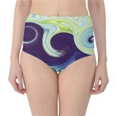 Abstract Ocean Waves High-Waist Bikini Bottoms