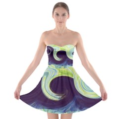 Abstract Ocean Waves Strapless Bra Top Dress