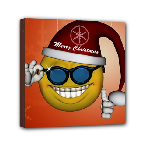 Funny Christmas Smiley With Sunglasses Mini Canvas 6  x 6