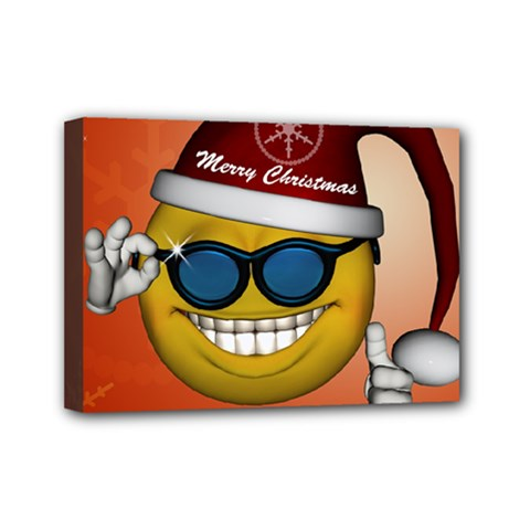 Funny Christmas Smiley With Sunglasses Mini Canvas 7  X 5