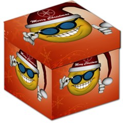 Funny Christmas Smiley With Sunglasses Storage Stool 12