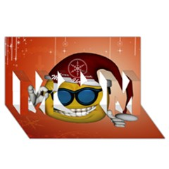 Funny Christmas Smiley With Sunglasses MOM 3D Greeting Card (8x4)