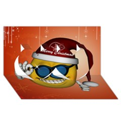 Funny Christmas Smiley With Sunglasses Twin Hearts 3D Greeting Card (8x4)