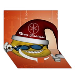 Funny Christmas Smiley With Sunglasses Circle Bottom 3D Greeting Card (7x5)