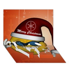 Funny Christmas Smiley With Sunglasses LOVE Bottom 3D Greeting Card (7x5)