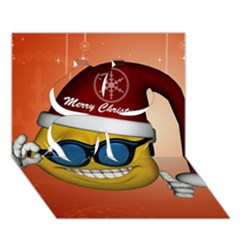 Funny Christmas Smiley With Sunglasses Clover 3d Greeting Card (7x5)