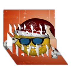 Funny Christmas Smiley With Sunglasses WORK HARD 3D Greeting Card (7x5)