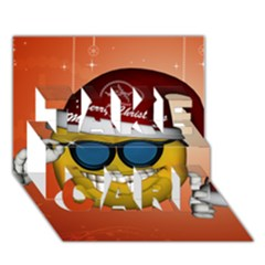 Funny Christmas Smiley With Sunglasses TAKE CARE 3D Greeting Card (7x5)