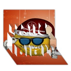 Funny Christmas Smiley With Sunglasses You Did It 3D Greeting Card (7x5)