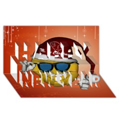 Funny Christmas Smiley With Sunglasses Happy New Year 3D Greeting Card (8x4)