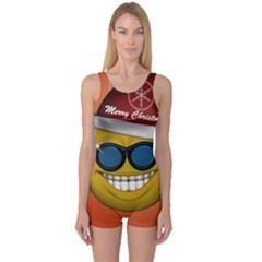 Funny Christmas Smiley With Sunglasses Women s Boyleg One Piece Swimsuits
