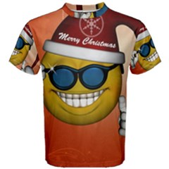 Funny Christmas Smiley With Sunglasses Men s Cotton Tees