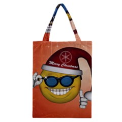 Funny Christmas Smiley With Sunglasses Classic Tote Bags