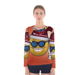 Funny Christmas Smiley With Sunglasses Women s Long Sleeve T-shirts