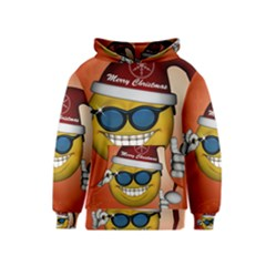 Funny Christmas Smiley With Sunglasses Kid s Pullover Hoodies