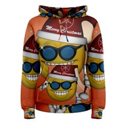 Funny Christmas Smiley With Sunglasses Women s Pullover Hoodies