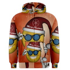 Funny Christmas Smiley With Sunglasses Men s Zipper Hoodies