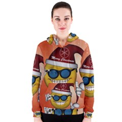 Funny Christmas Smiley With Sunglasses Women s Zipper Hoodies