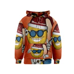 Funny Christmas Smiley With Sunglasses Kids Zipper Hoodies