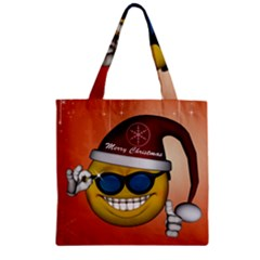Funny Christmas Smiley With Sunglasses Zipper Grocery Tote Bags