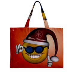 Funny Christmas Smiley With Sunglasses Zipper Tiny Tote Bags
