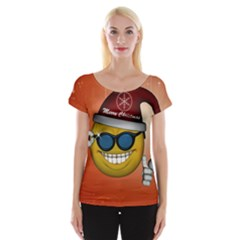 Funny Christmas Smiley With Sunglasses Women s Cap Sleeve Top