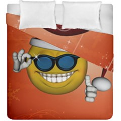 Funny Christmas Smiley With Sunglasses Duvet Cover (king Size)