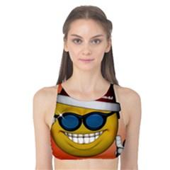 Funny Christmas Smiley With Sunglasses Tank Bikini Top