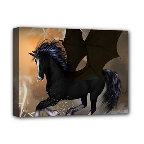 Awesome Dark Unicorn With Clouds Deluxe Canvas 16  x 12