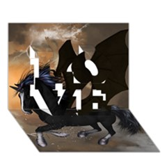 Awesome Dark Unicorn With Clouds LOVE 3D Greeting Card (7x5)