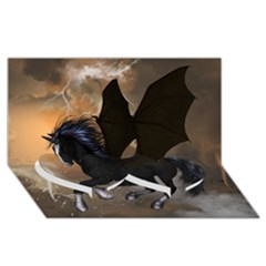 Awesome Dark Unicorn With Clouds Twin Heart Bottom 3D Greeting Card (8x4)