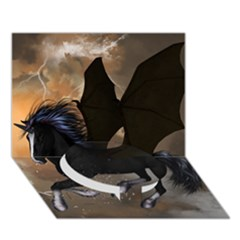 Awesome Dark Unicorn With Clouds Circle Bottom 3D Greeting Card (7x5)