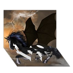Awesome Dark Unicorn With Clouds Love Bottom 3d Greeting Card (7x5)