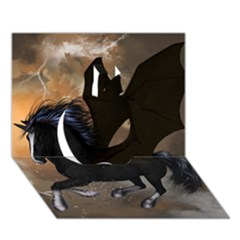Awesome Dark Unicorn With Clouds Apple 3d Greeting Card (7x5)