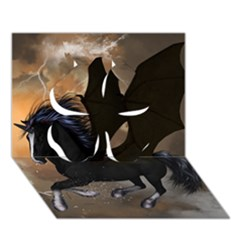 Awesome Dark Unicorn With Clouds Clover 3D Greeting Card (7x5)