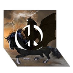 Awesome Dark Unicorn With Clouds Peace Sign 3d Greeting Card (7x5)