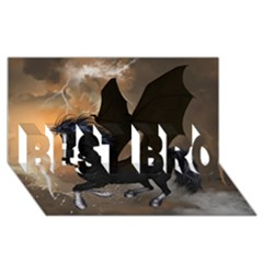 Awesome Dark Unicorn With Clouds Best Bro 3d Greeting Card (8x4)